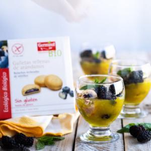 Crema de limón con moras y crujiente de arándanos