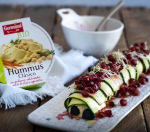 Canelón mediterráneo de hummus y vinagreta de granadas | Germinal Bio